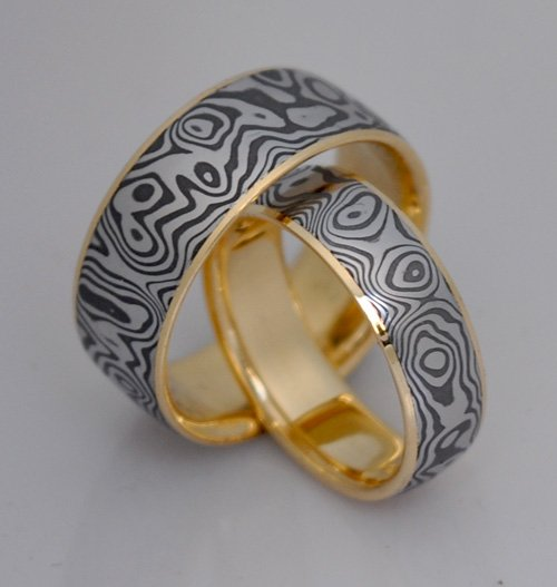 Damascus Ring with Gold Liner