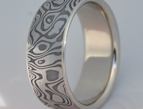Damascus Ring with White Gold Liner
